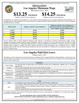 California Spec Los Angeles Min Wage and Paid Sick Leave