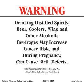 California Spec Alcohol Warning