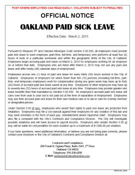 California Spec Oakland Paid Sick Leave