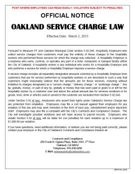 California Spec Oakland Service Charge Law