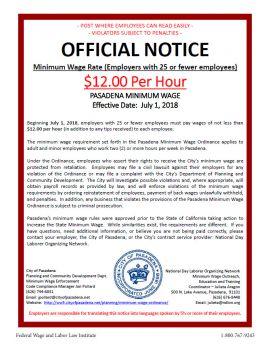 California Spec Pasadena Min Wage