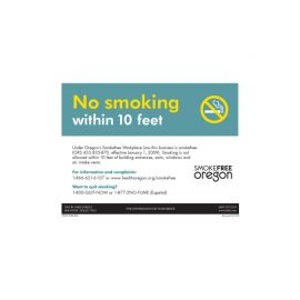 Oregon No Smoking-English-Laminated